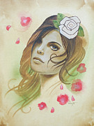 Cherry Blossom Painting Prints - Tattoo Art Portrait White Rose Cherry Blossom Print by Joel Wright