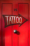Red Door Posters - Tattoo Door Poster by Tim Gainey