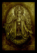 Gothic Digital Art Posters - Tattoo Mary Poster by Screaming Demons