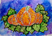 Pumpkins Paintings - Tattoo Pumpkin Patch by Allison Tilberg