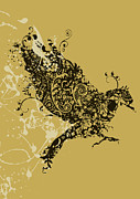 Flying Bird Metal Prints - Tattooed bird Metal Print by Budi Satria Kwan