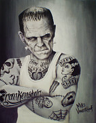 Hammer Paintings - Tattooed Frankenstein by Mike Vanderhoof by Michael Vanderhoof