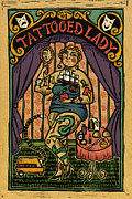Sideshow Drawings Posters - Tattooed Lady Poster by Sue Todd
