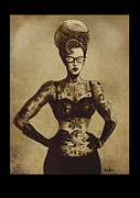 Vintage Digital Art Metal Prints - Tattooed Rockabilly Pinup Metal Print by Screaming Demons