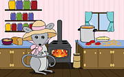 Mice Digital Art Prints - Tattys Kitchen Print by Christy Beckwith