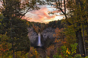 Slate Pattern Posters - Taughannock Falls Autumn Sunset Poster by Michele Steffey