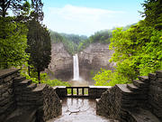 Summer Digital Art Metal Prints - Taughannock Falls Metal Print by Jessica Jenney