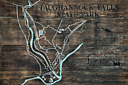 Taughannock Falls State Park Trail Map Sign Print by Christina Rollo