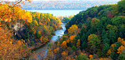 Yellow Bridge Digital Art Posters - Taughannock river canyon in colorful autumn Ithaca New York Panoramic Photography  Poster by Paul Ge