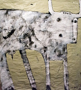 Cow Mixed Media Prints - Taurus No 3 Print by Mark M  Mellon