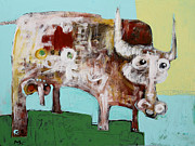 Primitive Art Prints - Taurus No 4 Print by Mark M  Mellon