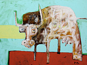 Outsider Art Mixed Media Metal Prints - Taurus No 5 Metal Print by Mark M  Mellon