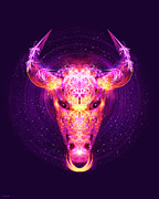 Zodiac Digital Art - Taurus - Zodiac Lightburst by Ifourdezign