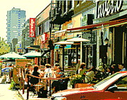 Cafescenes Framed Prints - Tavern In The Village Urban Cafe Scene - A Cool Terrace Oasis On A Busy Hot Montreal City Street Framed Print by Carole Spandau
