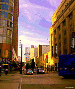 Corner Stores Paintings - Taxi Cabs Drive By Carlton Ave Sunset Reflected On Downtown Toronto Buildings Canadian Art C Spandau by Carole Spandau