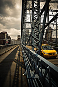 Taxi Cab Photos - Taxi Crossing Smithfield Street Bridge Pittsburgh Pennsylvania by Amy Cicconi