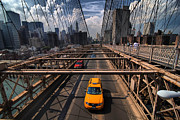 Yellow Cab Framed Prints - Taxi Crossing the Brooklyn Bridge Framed Print by Amy Cicconi