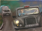 London England  Pastels - Taxi driver by Guy Elhanani