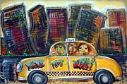 Cityscape Mixed Media Posters - Taxi Poster by Laura Barbosa