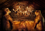 Cabin Wall Metal Prints - Taxidermy - Home of the three bears Metal Print by Mike Savad