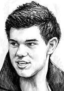 Film Mixed Media - Taylor-lautner art drawing sketch portrait by Kim Wang