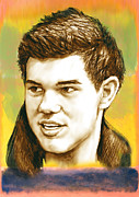 Tn Mixed Media Prints - Taylor Lautner - stylised drawing art poster Print by Kim Wang