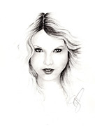 Charcoal Portrait Posters - Taylor Swift 3 Poster by Rosalinda Markle