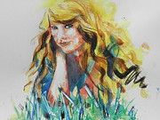 Portraits Framed Prints - Taylor Swift Framed Print by Chrisann Ellis