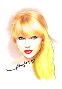 Red Keds Posters - Taylor Swift Poster by Dave Bear Atienza