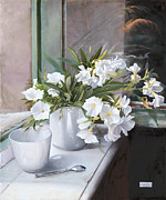 Interior Still Life Painting Metal Prints - Tazza E Oleandro Metal Print by Danka Weitzen