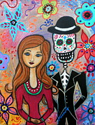 Pristine Cartera Turkus Prints - Te Amo Couple Day Of The Dead Print by Pristine Cartera Turkus