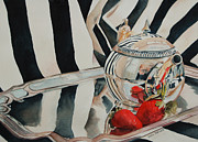 Silver Tea Pot Paintings - Tea and Berries by Leslie Berman
