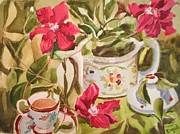 Teapot Painting Originals - Tea and Clematis by Johanna Engel