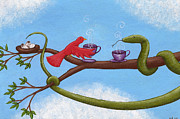 Humor. Paintings - Tea and Eggs by Christy Beckwith
