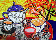 Table Cloth Mixed Media Prints - Tea and Eggs  Print by Diane Fine
