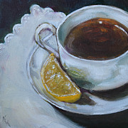 Kristine Kainer Paintings - Tea and Lemon by Kristine Kainer