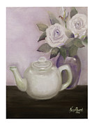 Teapot Painting Originals - Tea and Roses by Nancy Edwards
