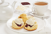 Cream Framed Prints - Tea and Scones Framed Print by Colin and Linda McKie