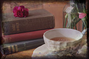 Vintage Books Prints - Tea and Verses Print by Toni Hopper