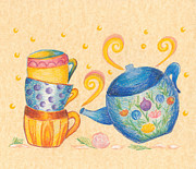 Tea Pot Drawings Prints - Tea Print by Chu-Hua Mou