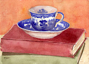 Kitchen Watercolor Paintings - Tea Cup on Stack of Books  by Blenda Studio