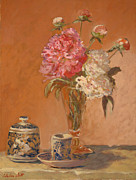 Most Popular Paintings - Tea cup with peonies by Monica Caballero