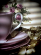 Saucers Posters - Tea Cups and Roses Poster by Karen Lewis