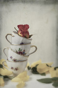 Tea Cup Prints - Tea Cups With Rose Print by Joana Kruse