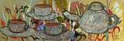 Tea Cups Paintings - Tea For Three by Robin Maria  Pedrero