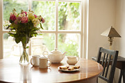 Interior Scene Prints - Tea for Two Print by Anne Gilbert