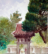Japanese Tea Garden Paintings - Tea Garden Entrance by Karen Coggeshall
