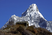 Slide Photographs Prints - Tea House and Ama Dablam Peak - Everest Region Print by Craig Lovell
