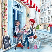 Cute Mixed Media Framed Prints - Tea in Paris Framed Print by Caroline Bonne-Muller