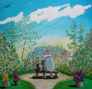 John Lyes Posters - Tea in the Garden with Bootsies Poster by John Lyes